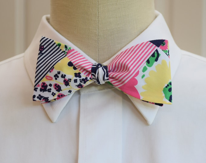 Men's Bow Tie, Ain't no Lady patchwork print Lilly bow tie, pink blue yellow bow tie, multi color bow tie, wedding bow tie, groom bow tie