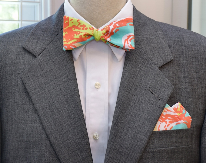 Men's Pocket Square and Bow Tie, aqua and orange Pearl Shell and Swirl, wedding party wear, groomsmen gift, groom bow tie set, men's gift