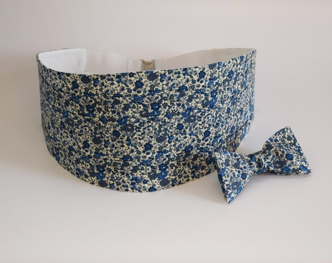 Men's Cummerbund & Bow Tie set, Liberty of London blues/grays floral Emma and Georgina print, wedding bow tie set, tux accessory, prom wear