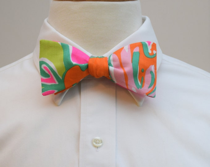 Men's Bow Tie, Going Stag hot pink/orange/lime green Lilly print bow tie, wedding bow tie, groom bow tie, groomsmen gift, prom bow tie
