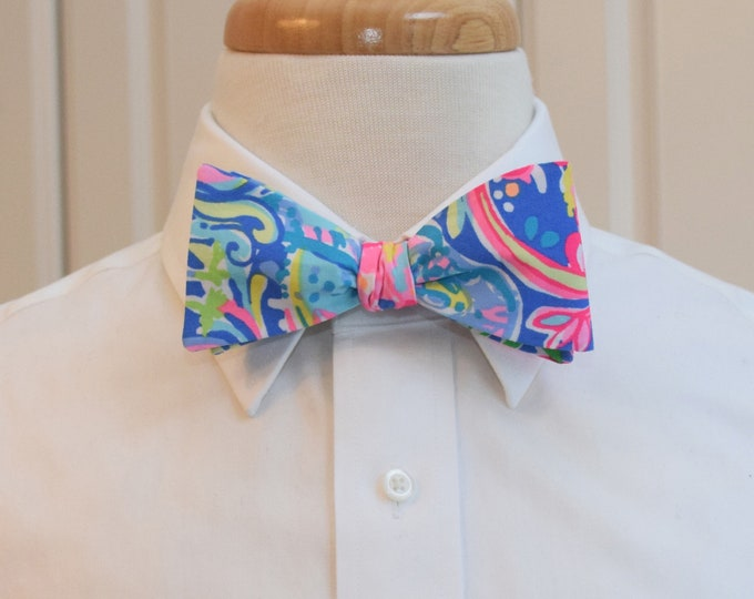 Men's Bow Tie, anniversary 60 Animals Lilly print, neon bright, groomsmen's gift, groom/wedding bow tie, pinks/blues/greens, prom/resort tie