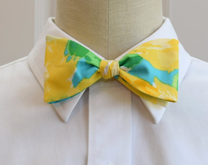 Men's Bow Tie, First Impressions yellow/turquoise Lilly print bow tie, groomsmen/groom bow tie, wedding bow tie, prom bow tie, tux accessory