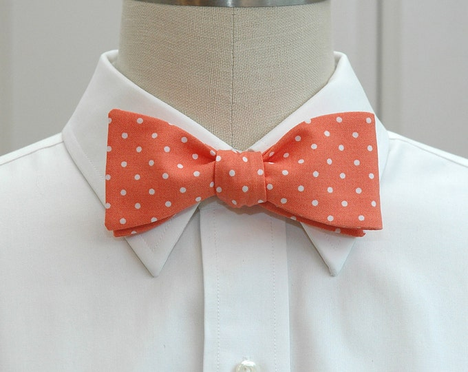 Men's Bow Tie in coral with white mini polka dots, wedding party attire, groomsmen gift, groom bow tie, ring bearer bow tie,melon bow tie