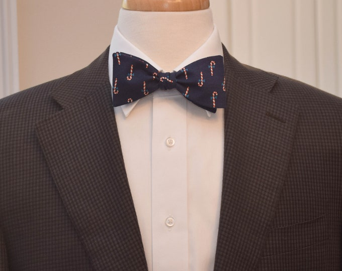 Men's Bow Tie, Rifle Paper Co. navy blue bow tie, candy canes bow tie, holiday bow tie, holiday gift, Christmas bow tie, Christmas gift