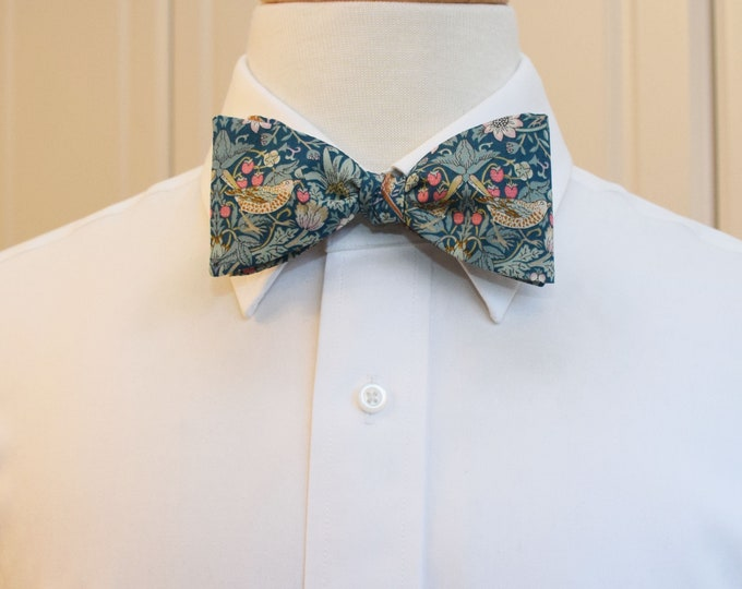 Men's Bow Tie, Liberty of London, teal/aqua Strawberry Thief William Morris classic print bow tie, groom/groomsmen bow tie, wedding tie