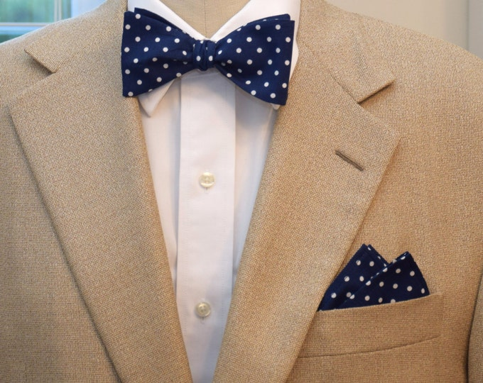 Men's Pocket Square & Bow Tie, classic navy with white polka dots, wedding party wear, groomsmen gift, groom bow tie set, men's gift set