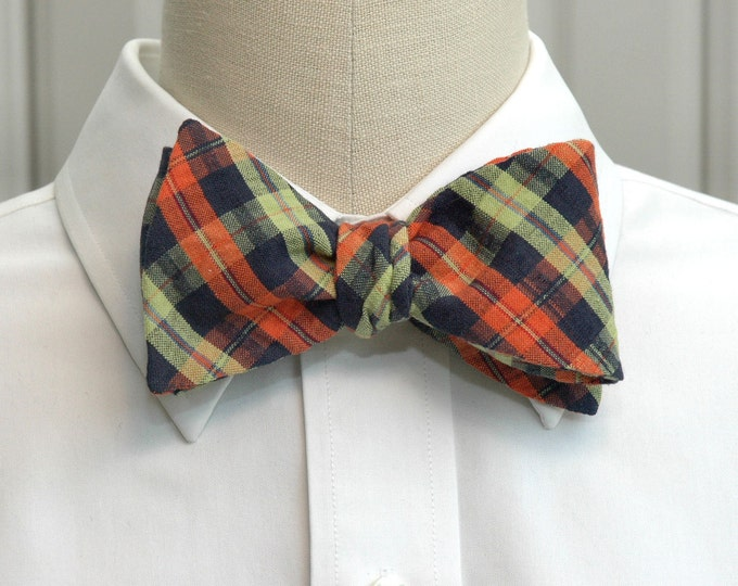Men's bow tie, navy, lime and orange plaid  bow tie, plaid seersucker bow tie, wedding bow tie, groom bow tie, groomsmen gift, southern tie