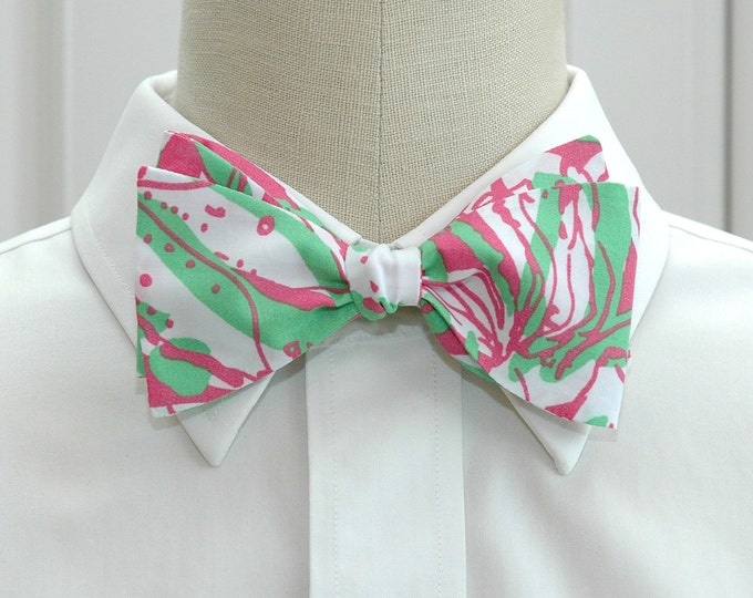 Men's Bow Tie, Forgot My Trunks pink & green Lilly print, wedding bow tie, groom bow tie, groomsmen gift, preppy bow tie, prom bow tie