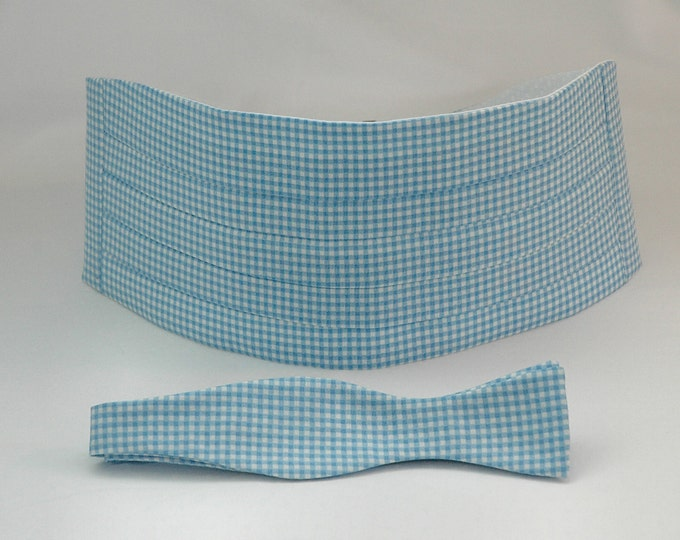 Cummerbund & Bow Tie, Carolina blue gingham, groom formal wear, wedding party wear, tuxedo accessory, custom classic cummerbund, prom style