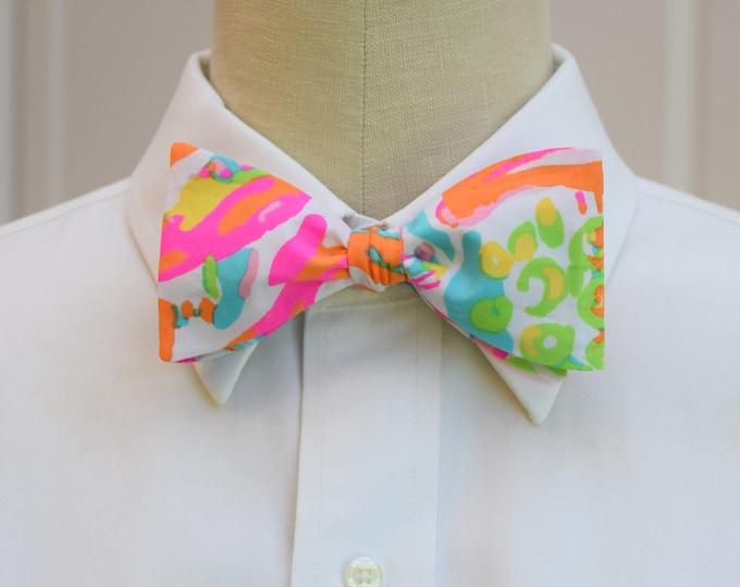 Men's Bow Tie, Scuba to Cuba Lilly print, multi color bright bow tie, wedding bow tie, Carolina Cup bow tie, groom bow tie, groomsmen gift,