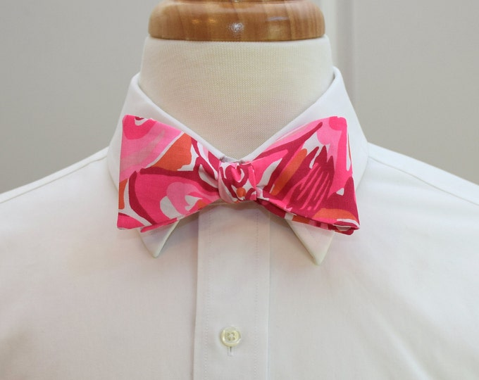 Men's Bow Tie, Mango Salsa hot pink/coral Lilly print, wedding bow tie, prom bow tie, groom bow tie, groomsmen gift, Carolina Cup bow tie