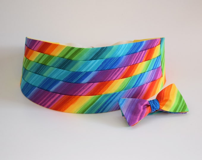 Cummerbund & Bow Tie, LGBTQ Rainbow, Gay Pride cummerbund set, rainbow tuxedo accessory, wedding/groom/groomsmen cummerbund/bow tie set