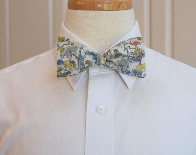 Men's Bow Tie, Liberty London Safari animal print, animal bow tie, zoo wedding bow tie, animal lover gift, veterinarian gift, groomsmen gift