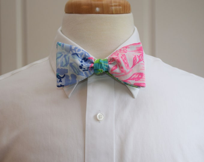 Men's Bow Tie, Bohemian Queen 2019 Lilly print, pinks/blues/greens/lilac, groomsmen/groom bow tie, wedding bow tie, prom, Carolina Cup/Derby