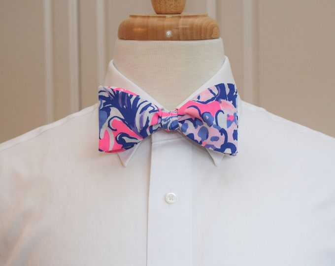 Men's Bow Tie, Sun Drenched, Lilly 2019 print, vivid pinks/purples, wedding/groom/groomsmen bow tie, Kentucky Derby bow tie, prom bow tie,