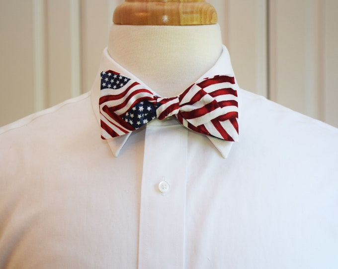 Men's Bow Tie American flag, patriotic bow tie, US flag bow tie, July 4th, Old Glory bow tie, red, white and blue, Independence Day bow tie