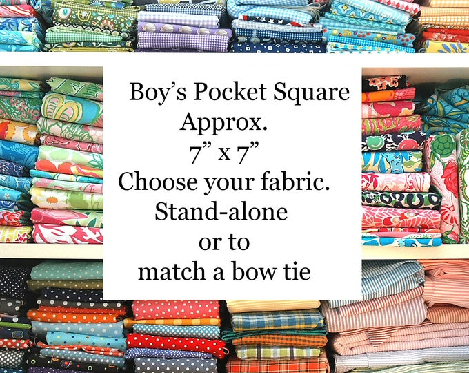 Boy's Pocket Square, Custom Made to order, wedding accessory, Easter accessory, match a bow tie, boy's pocket square set, toddler accessory
