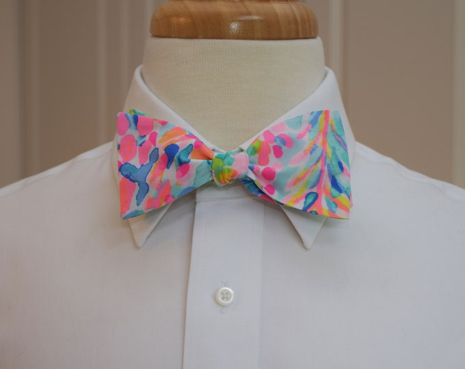Men's Bow Tie, Catch The Wave 2018 Lilly print, aqua/pinks/multi color wedding bow tie, groom/groomsmen bow tie, prom bow tie, tux accessory
