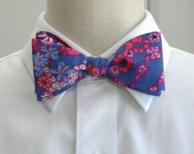 Men's Bow Tie, Secret Snail Lilly floral design, cobalt blue, pink floral, wedding bow tie, groom bow tie, groomsmen gift, prom bow tie