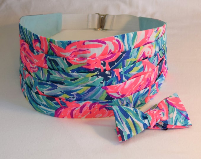 Cummerbund & Bow Tie, Flamenco Beach aqua/blues/neon hot pink flamingo Lilly print, wedding party wear, tuxedo accessory, custom cummerbund