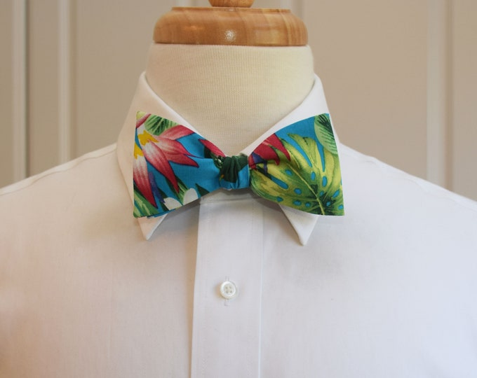 Men's Bow Tie, Hawaiian print bow tie, turquoise/green/pink/red floral bow tie , tropical bow tie, wedding bow tie, groom/groomsmen bow tie