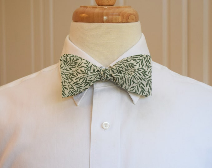 Men's Bow Tie, Liberty of London, green/ivory Willow Wood leaves print bow tie, groomsmen/groom bow tie, wedding bow tie, tuxedo accessory,