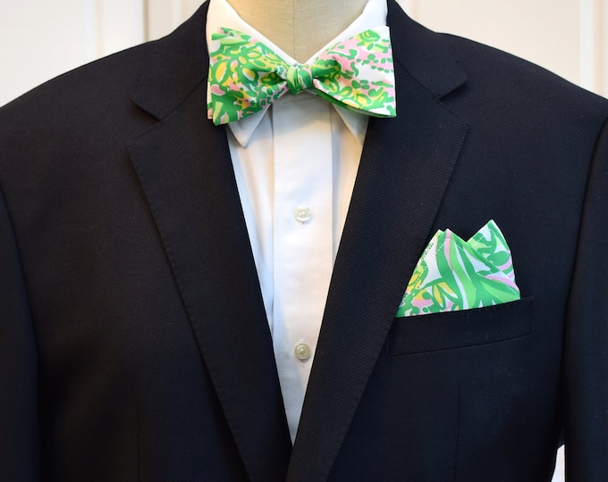 Men's Pocket Square and Bow Tie, green pink abstract foliage/floral print, wedding party, groomsmen gift, groom bow tie set, prom bowtie