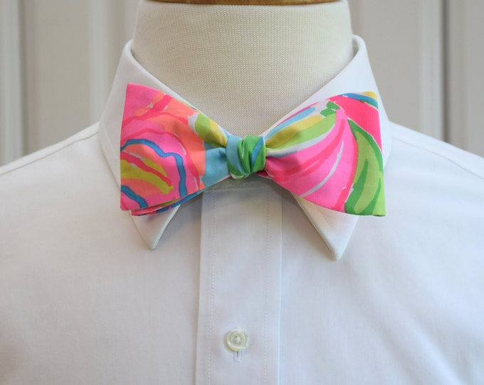 Men's Bow Tie, So A Peeling neon bright multi color Lilly print bow tie, groomsmen/groom bow tie, wedding bow tie, Carolina Cup/Derby bowtie