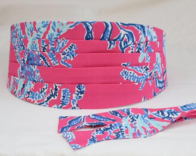 Cummerbund & Bow Tie, hot pink/blues Samba Lilly print, groomsmen/groom cummerbund, tuxedo accessory, custom cummerbund, prom cummerbund