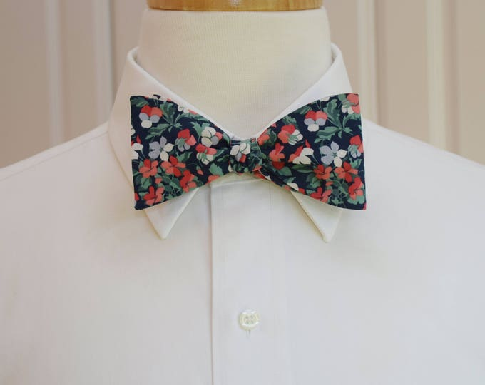 Men's Bow Tie, Liberty of London, navy/coral/green/gray floral Sarah print bow tie, groomsmen/groom bow tie, wedding bow tie, tux accessory