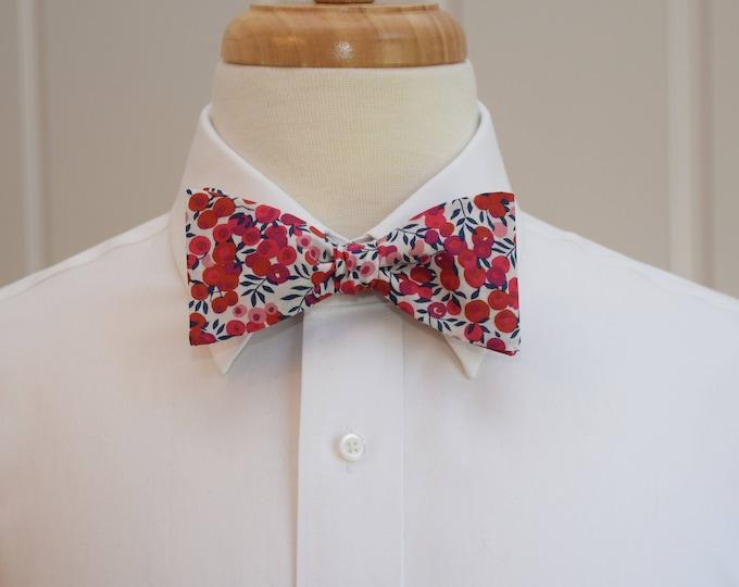 Men's Bow Tie, Liberty of London, scarlet/ivory/navy berries Wiltshire print, groomsmen/groom bow tie, wedding bow tie, tuxedo accessory