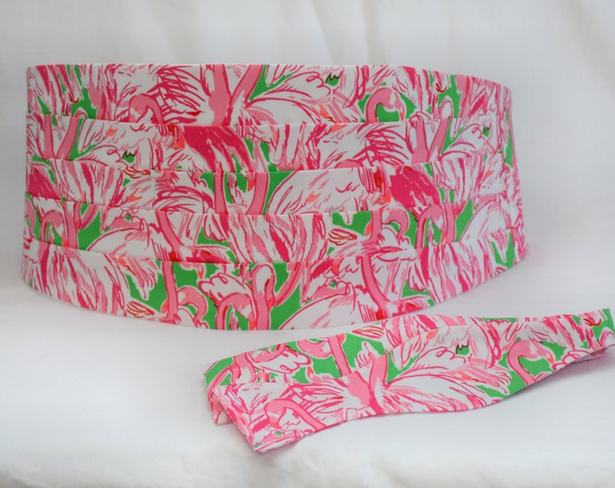 Cummerbund & Bow Tie, prep green Pink Colony flamingo Lilly print, groom formal wear, wedding party wear, tux accessory, custom cummerbund