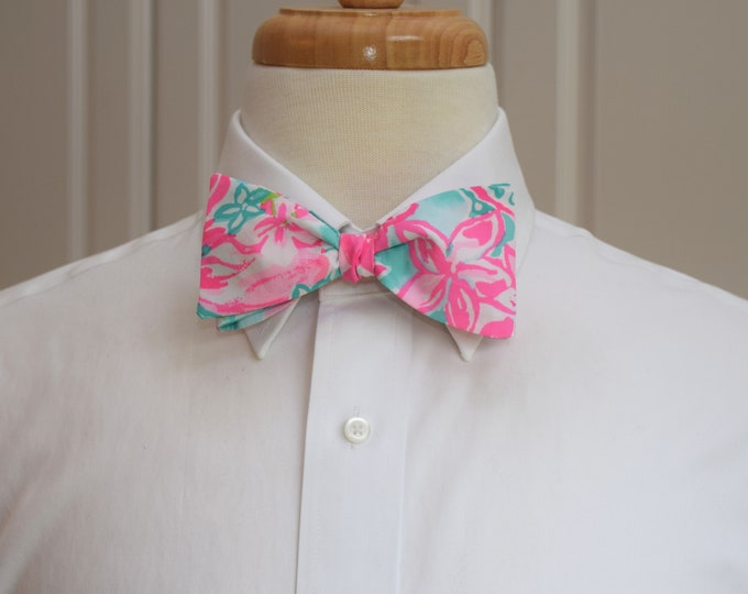 Men's Bow Tie, Hot on the Scene, aqua/pink/turquoise hibiscus, Lilly 2019, groom/groomsmen bow tie, Derby bow tie, prom/wedding bow tie