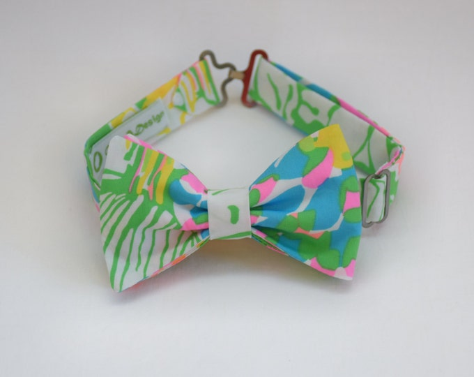 Boy's Lilly Bow Tie, green/pink multi Hibiscus Stroll, father/son matching ties, wedding accessory, toddler bow tie, ring bearer bow tie