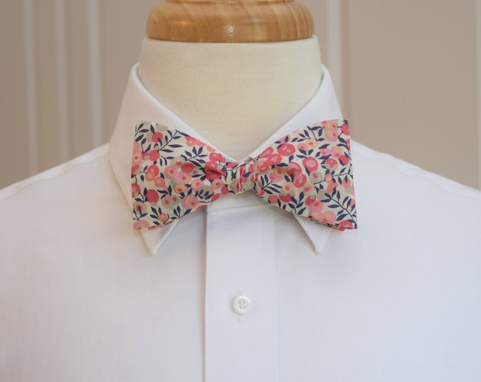 Men's Bow Tie, Liberty of London, coral/blush/ivory/navy berries Wiltshire print, groomsmen/groom bow tie, wedding bow tie, tuxedo accessory