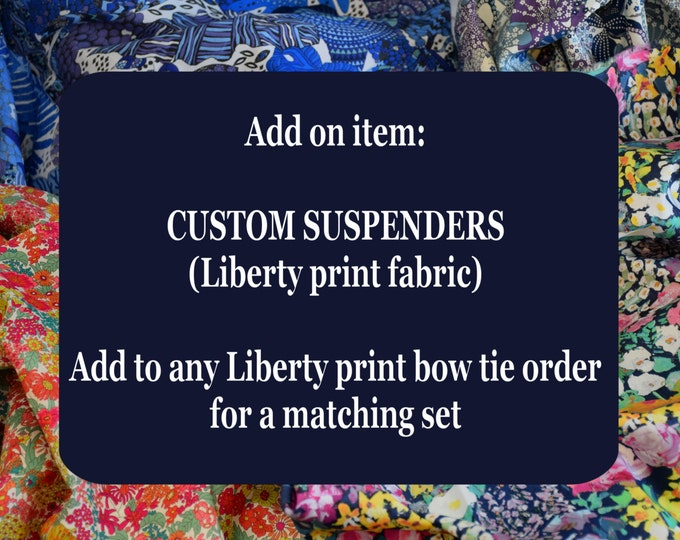 Liberty of London men's suspenders, groom bow tie set, wedding party menswear, groomsmen's gift, formal menswear, English menswear, clip-on