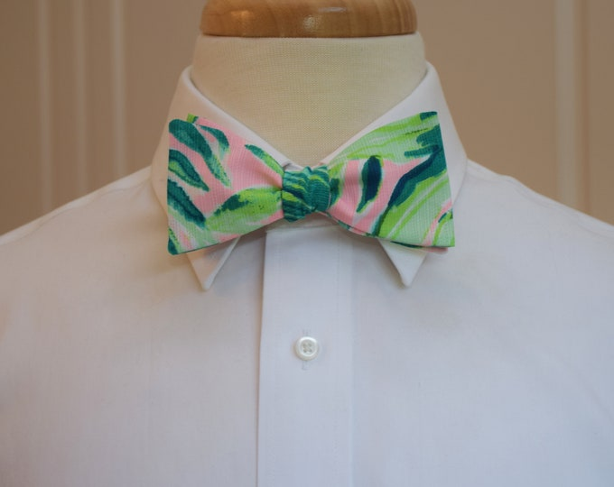 Men's Bow Tie, Chimpoiserie 2018 pink/green Lilly print bow tie, wedding bow tie, groom/groomsmen bow tie, prom bow tie, palm leaf bow tie