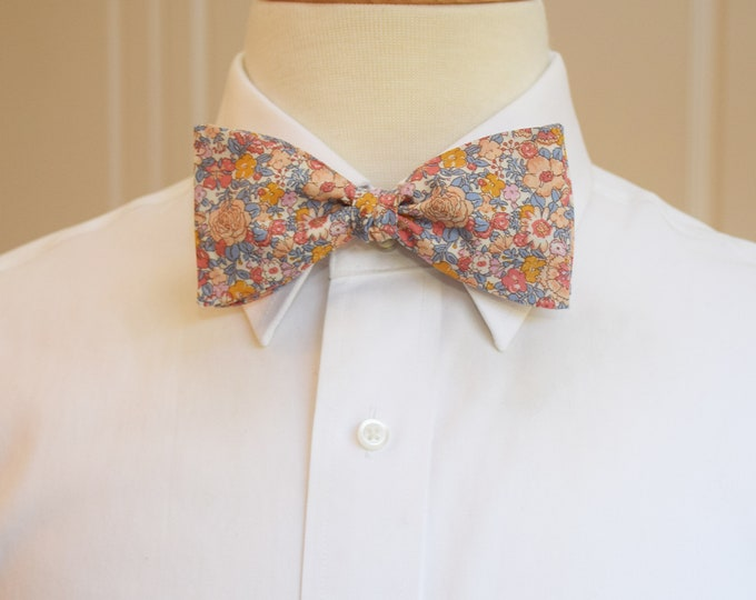 Men's Bow Tie, Liberty of London, coral/gold/gray/peach floral Amelie print, groomsmen/groom bow tie, wedding bow tie, classic bow tie