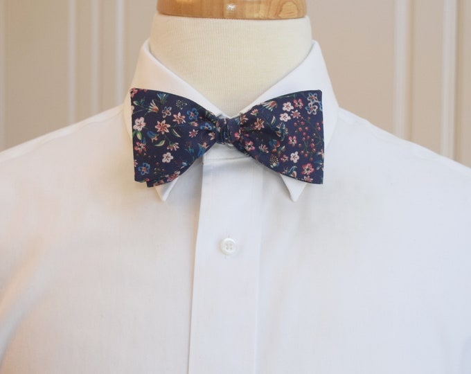 Men's Bow Tie, Liberty of London, navy/pink/red floral Donna Leigh print, groomsmen/groom bow tie, wedding bow tie, classic tux accessory