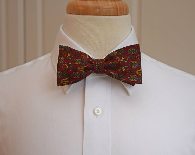 Men's Bow Tie, burgundy/green/blue/gold Ferragamo silk bow tie, traditional design silk bow tie, boardroom bow tie, Italian silk bow tie