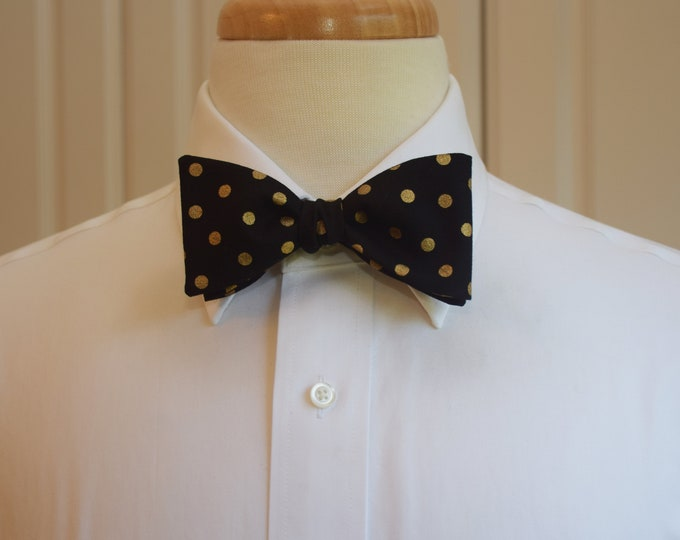 Men's Bow Tie, black, gold metallic polka dots, wedding bow tie, groom bow tie, groomsmen gift, tux accessory, New Years Eve, party, holiday