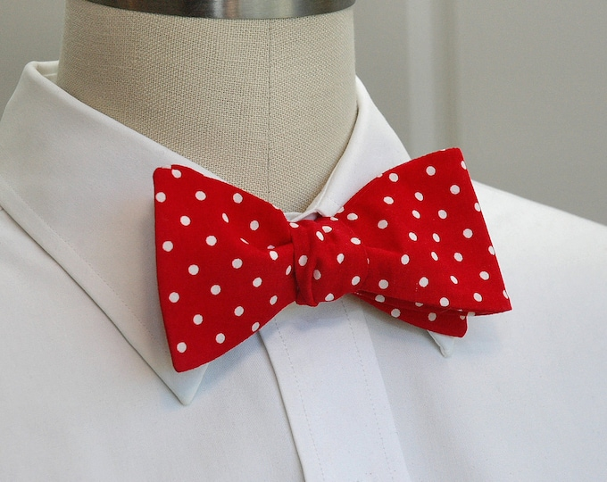 2a74cc524131 Men's Bow Tie, red with white polka dots, fire engine red bow tie,