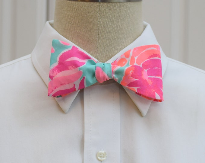 Men's Bow Tie, Lovebirds aqua/hot pink/coral Lilly bow tie, wedding party/groom/groomsmen bow tie, prom bow tie, Kentucky Derby bow tie