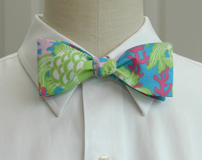 Men's Bow Tie, Gill-ty ocean blue Lilly print bow tie, blue green bow tie, coral reef bow tie, wedding bow tie, prom bow tie, groom bow tie