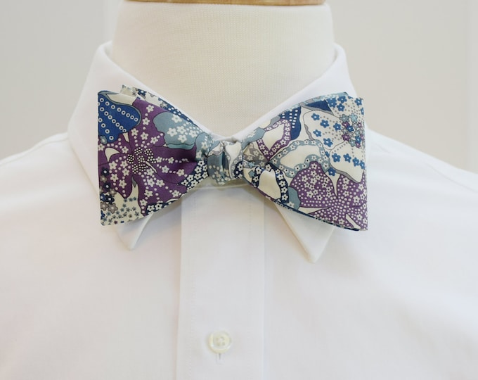 Men's Bow Tie, Liberty of London, lilac/grey/lavender/blue Mauvey print bow tie, groomsmen/groom bow tie, wedding bow tie, tuxedo accessory