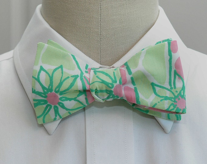 Men's Bow Tie, Window Shopping pastel pink/mint green Lilly print, wedding bow tie, groom/groomsmen bow tie, prom bow tie, tux accessory