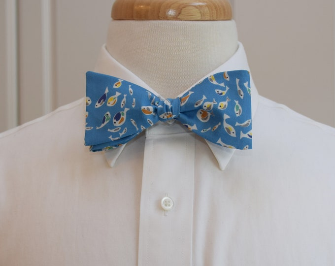 Men's Bow Tie, Liberty of London, tossed fish Glimmer design, blue bow tie, wedding bow tie, groom bow tie,  groomsmen gift, fish lover gift