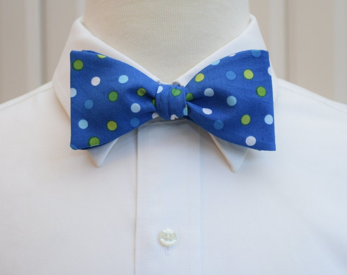 Men's Bow Tie, cobalt blue, green white polka dots, wedding bow tie, Kentucky Derby bow tie, Easter bow tie, groom bow tie, prom bow tie,