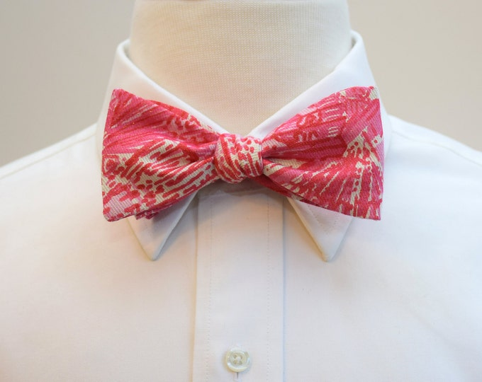 Men's Bow Tie, Getting Hot in Here, pink ivory bow tie,  groomsmen gift, wedding party wear, groom bow tie, Lilly menswear, tuxedo accessory