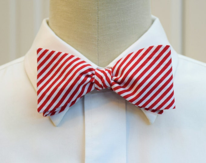 Men's Bow Tie, red with white stripes, candy cane stripes bow tie, holiday bow tie, Christmas bow tie, festive bow tie, men's Christmas gift